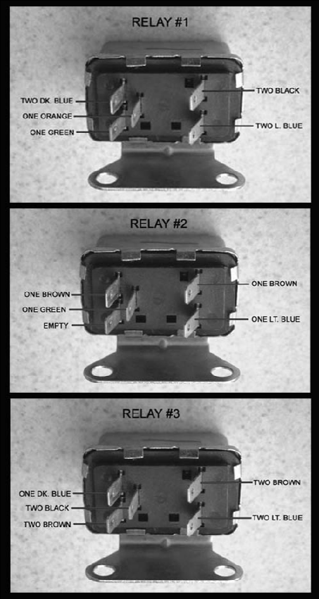 faq67 by having a triple plug a missing terminal relay r3 is in line r2 the relays must the wired as illustrated in the following pictures